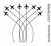 airplane flying formation  air... | Shutterstock .eps vector #1210789408
