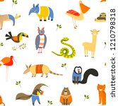 funny animals wearing knitted...   Shutterstock .eps vector #1210798318