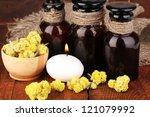 Herbs and jars - stock photo