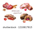 different  watercolor... | Shutterstock . vector #1210817815