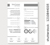 modern creative cv resume with... | Shutterstock .eps vector #1210844035