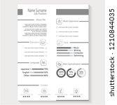modern creative cv resume with... | Shutterstock .eps vector #1210844035