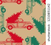 christmas truck with christmas ... | Shutterstock .eps vector #1210851142