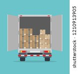 open delivery truck with... | Shutterstock .eps vector #1210913905