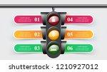 traffic light infographic. six...   Shutterstock .eps vector #1210927012
