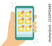smart phone screen and many... | Shutterstock .eps vector #1210932685