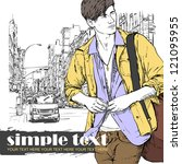 stylish dude with bag  on a... | Shutterstock .eps vector #121095955