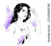 beautiful young woman in shirt...   Shutterstock . vector #1210960198