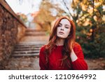 portrait of a young ginger... | Shutterstock . vector #1210964992