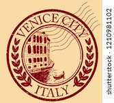 venice  italy isolated postage... | Shutterstock .eps vector #1210981102