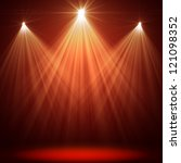 stage spot lighting over red... | Shutterstock . vector #121098352