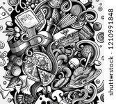 cartoon vector doodles italian...   Shutterstock .eps vector #1210991848