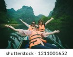 three asian woman tourist... | Shutterstock . vector #1211001652