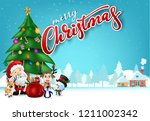 funny christmas greeting card ... | Shutterstock .eps vector #1211002342