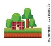 pixel video game | Shutterstock .eps vector #1211005378