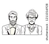 pop art hipster men cartoon | Shutterstock .eps vector #1211016928