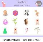 find two same pictures. cartoon ... | Shutterstock .eps vector #1211018758