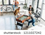 high angle view of young casual ... | Shutterstock . vector #1211027242