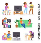 gamer vector man or woman with... | Shutterstock .eps vector #1211028565