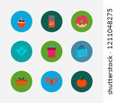 gift shop icons set. cupcake...