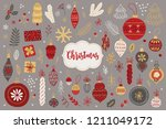 christmas design elements with... | Shutterstock .eps vector #1211049172