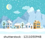 christmas winter landscape with ... | Shutterstock .eps vector #1211050948