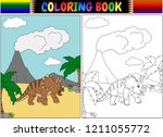 coloring book with triceratops... | Shutterstock . vector #1211055772