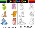 coloring book with dinosaur... | Shutterstock . vector #1211055805
