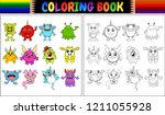 coloring book with monsters... | Shutterstock . vector #1211055928