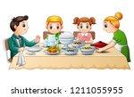 happy family eating dinner... | Shutterstock . vector #1211055955