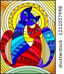 illustration in stained glass... | Shutterstock .eps vector #1211057998