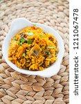 mushroom biryani    indian... | Shutterstock . vector #1211067478