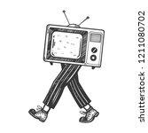 tv walks on its feet engraving... | Shutterstock .eps vector #1211080702