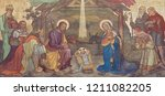 Small photo of PRAGUE, CZECH REPUBLIC - OCTOBER 17, 2018: The fresco of Adoration of Magi and Nativity in the church kostel Svateho Cyrila Metodeje probably by Gustav Miksch and Antonin Krisan (19. cent.).