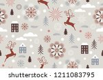 seamless christmas and new year ... | Shutterstock .eps vector #1211083795