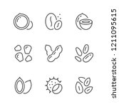 set line icons of nuts and seeds | Shutterstock .eps vector #1211095615