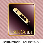 gold emblem with cutter icon...   Shutterstock .eps vector #1211098072