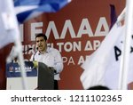 Small photo of Head of radical left-wing Syriza party Alexis Tsipras speaks to his supporters during a rally at Aristotelous square in Thessaloniki, Greece on May 21, 2014