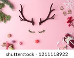 christmas reindeer concept with ... | Shutterstock . vector #1211118922