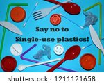 say no to single use plastics... | Shutterstock . vector #1211121658