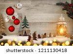 christmas scene background with ... | Shutterstock . vector #1211130418
