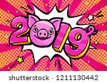 pig is a symbol of 2019 new... | Shutterstock .eps vector #1211130442