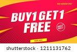 buy get free sale banner... | Shutterstock .eps vector #1211131762