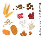 diferent seed set. wheat ... | Shutterstock .eps vector #1211132938