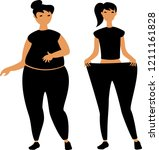 vector image of a fat and thin... | Shutterstock .eps vector #1211161828