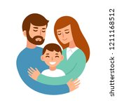 mom and dad hugging their son.... | Shutterstock .eps vector #1211168512