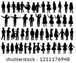 silhouette group of kids  set | Shutterstock .eps vector #1211176948