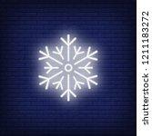 white snowflake neon sign.... | Shutterstock .eps vector #1211183272