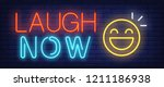 laugh now neon sign. happy... | Shutterstock .eps vector #1211186938
