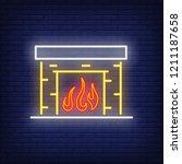 fireplace neon sign. luminous... | Shutterstock .eps vector #1211187658